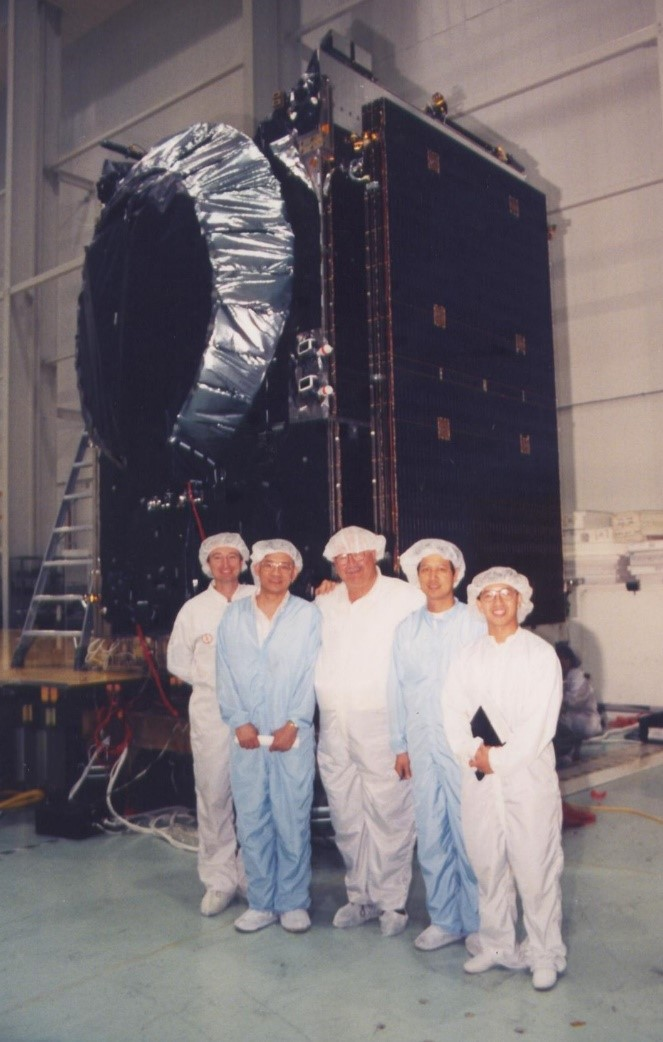 William (first from right) with the AsiaSat Field Office (AFO) teammates at Lockheed Martin's US facility in 1995 building AsiaSat 2