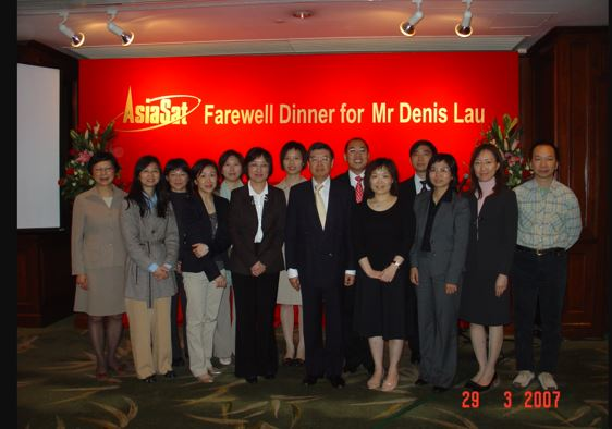 Betty (third from right) and the Finance team at the farewell dinner in 2007 for her long-serving boss since she joined AsiaSat in 1989