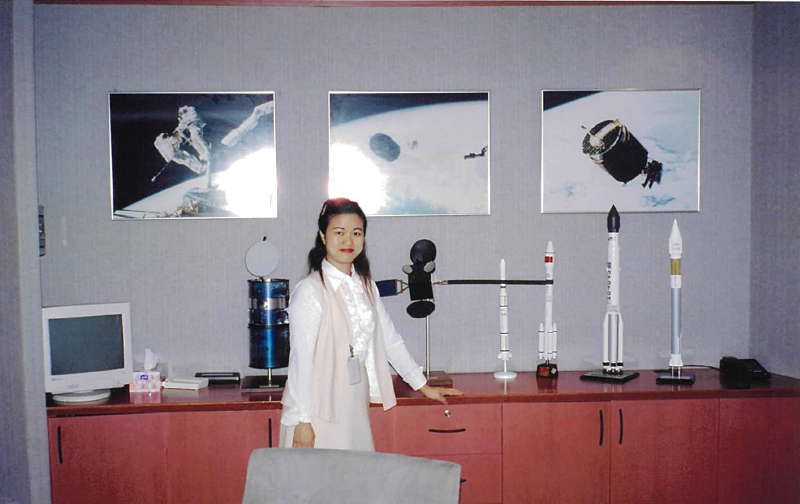 Behind Janus are some memorable pictures featuring how Westar VI was retrieved from space by the two astronauts. The satellite was later rebuilt as AsiaSat 1. On Janus' right is the satellite model of AsiaSat 1, Asia's first private regional satellite