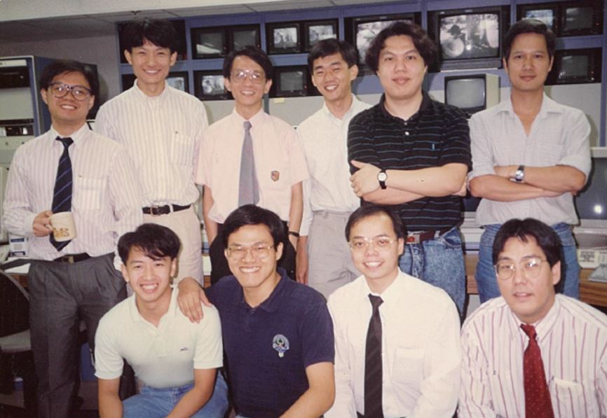 Fred (back row, first from left) with the Operations Team at AsiaSat's first satellite control centre located at East Exchange Tower, Causeway Bay Hong Kong