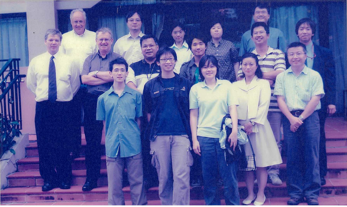 Janus (front row, second from right) with colleagues in the engineering department, a bigger team after moving to our wholly-owned facility Tai Po Earth Station which began fully operational in Jan 2004. Many of these colleagues have been working with Janus at AsiaSat for more than 20 years