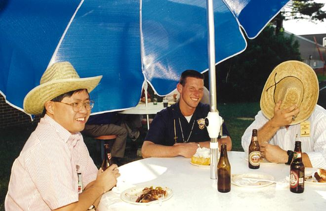 Fred (left) with engineers from Lockheed Martin, the satellite manufacturer of AsiaSat 2, taking a break during a training session in 1994 in the US, well before the satellite launch in Nov 1995