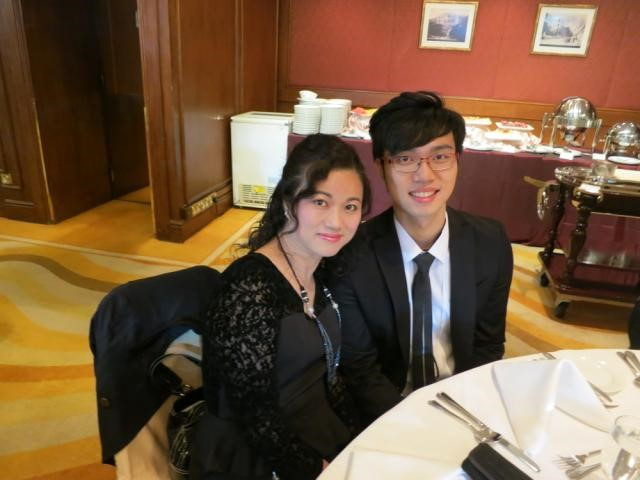 Janus with Harry at a company party celebrating the successful launches of AsiaSat 6 and AsiaSat 8 in 2014