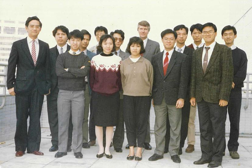 Fred (first row, second from right) with the 1st generation Operations Team and former CEO Terry Seddon.  Standing on the right of Fred was Annie, Hong Kong's very first female satellite controller