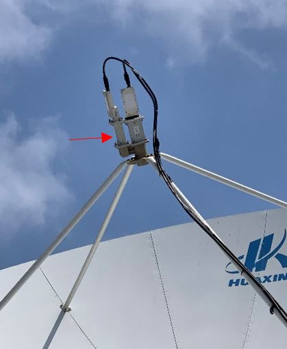 AsiaSat BPF installed onto the H-pol output of the antenna